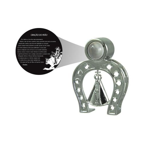Pingente Prata c/ Ródio Negro Neo Crystal NSra. Ap Ferradura