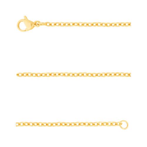 Corrente Aço Cartier Elos Ovais 1.85mm 40cm Gold IPG