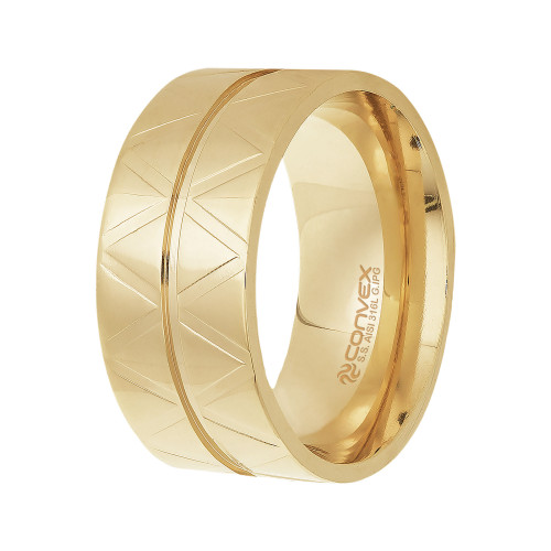 Anel Aço Equis 10mm Gold IPG