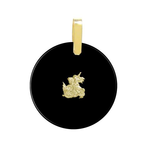 Pingente Ônix São Jorge e Argola em Ouro Redondo 30mm