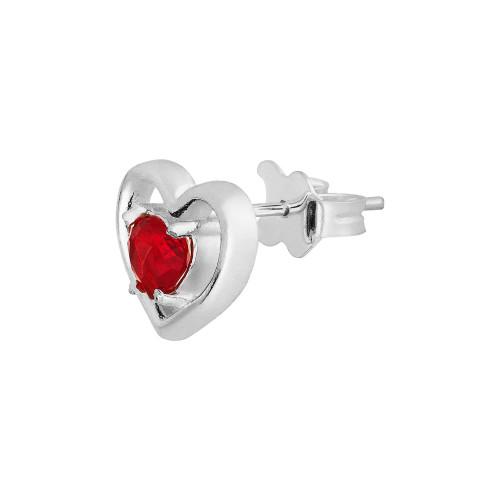 Brinco Prata Coração com Zircônia Vermelha 11x12mm