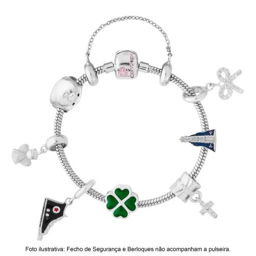 Pulseira Prata para Berloque Link Infantil c/ Resina 14cm