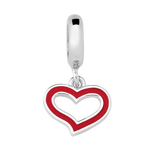 Pingente Prata Link Coração Vermelho Pendente 10x18mm