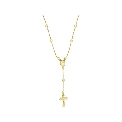 Colar Prata c/ Ouro 18K Veneziana Terço Milagrosa 45cm
