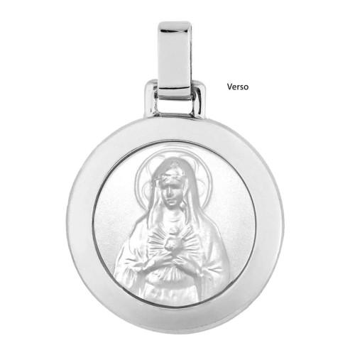 Pingente Aço Sagrado Coração de Maria Redondo 30mm com Ouro