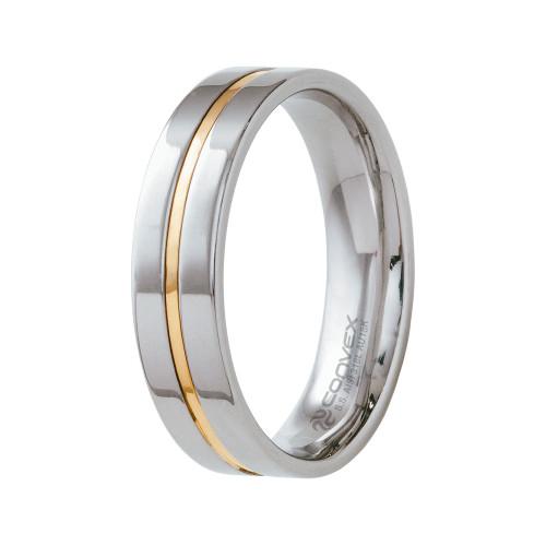 Aliança de Namoro Plus 6mm com Filete Central em Ouro