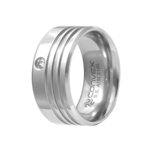 Aliança de Namoro Chrome Triple 10mm com Zircônia