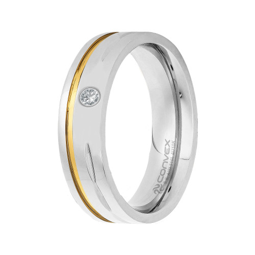 Aliança de Namoro Deam 6mm com Filete em Ouro e Zircônia