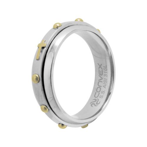 Aliança de Namoro Terço Giratório 6mm com Ouro