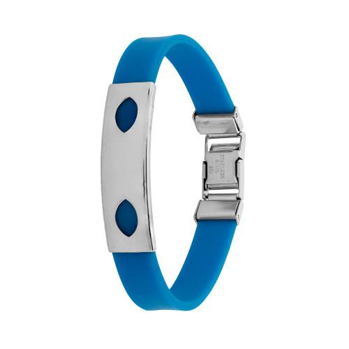 Pulseira Aço Color Teen Azul c/ Desenho Oval 10mm 21cm