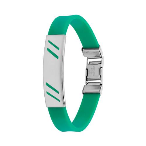 Pulseira Aço Color Teen Verde c/ Desenho Diagonal 10mm 21cm