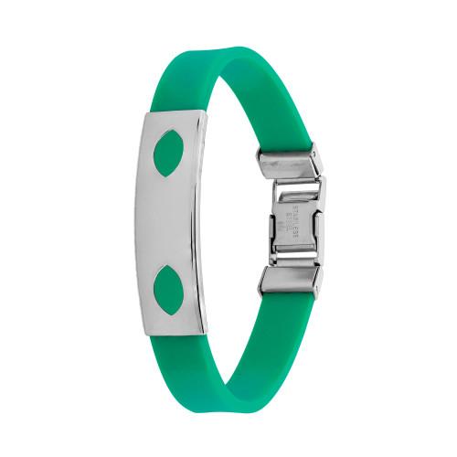 Pulseira Aço Color Teen Verde c/ Desenho Oval 10mm 21cm