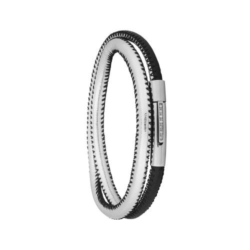 Pulseira Aço Duo Black e Silver Fecho com Zircônia 5mm