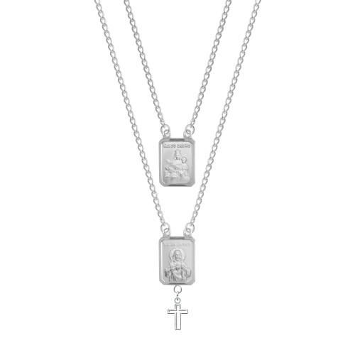 Escapulário Aço 2 Medalhas NSra. Carmo e S.C. Jesus com Cruz