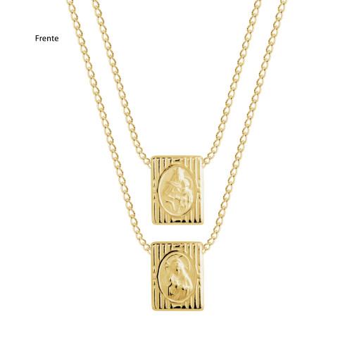 Escapulário Aço S. C. Jesus e NSra. Carmo com Símbolo Grego Gold IPG 16x12mm 60cm