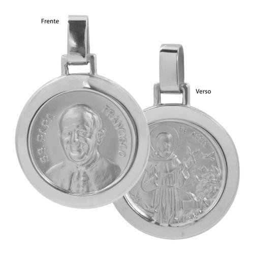 Pingente Aço Papa Francisco e São Francisco de Assis