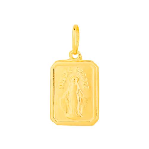 Pingente Aço Milagrosa Retangular 15x11mm Gold IPG