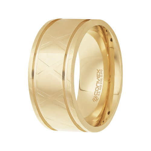 Anel Aço Xteel 10mm Gold IPG