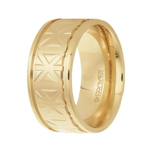Anel Aço Asterisk 10mm Gold IPG