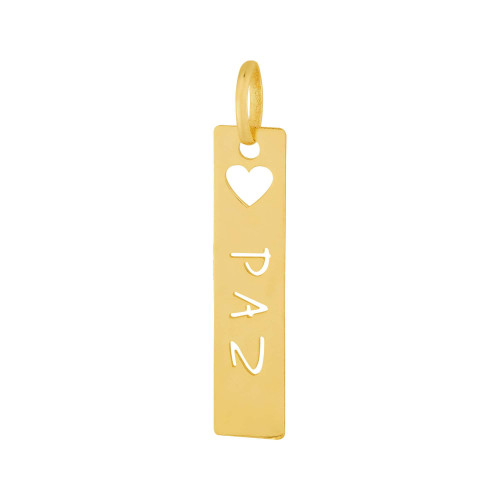 Pingente Aço Placa Feelings Paz 28x6mm Gold IPG