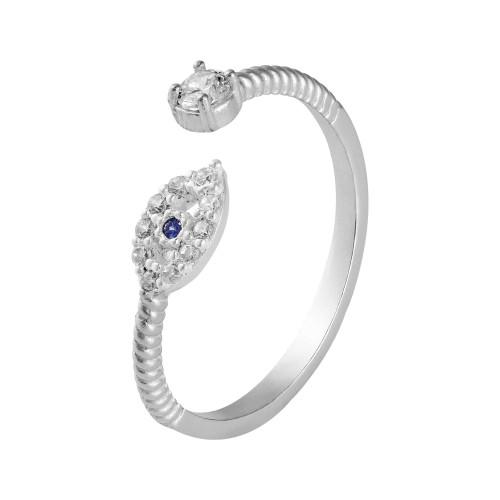 Anel Prata Falange Olho Grego com Zircônia Branca e Azul