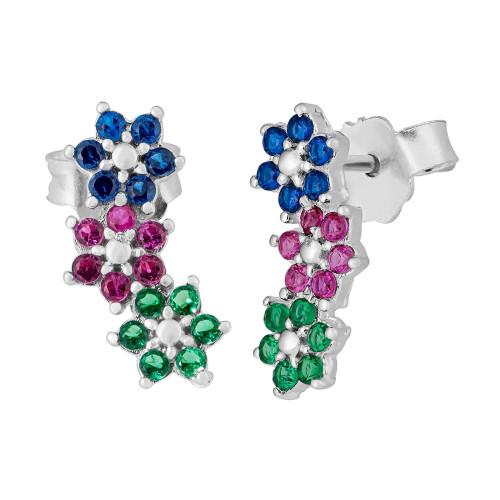 Brinco Prata Flores Colors