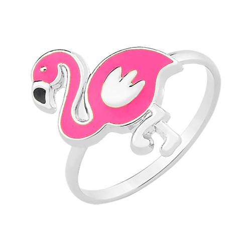 Anel Prata Flamingo com Resina Rosa 13.50x10mm