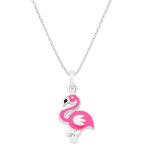 Colar Prata Flamingo com Resina Rosa 13.50x10mm 37cm