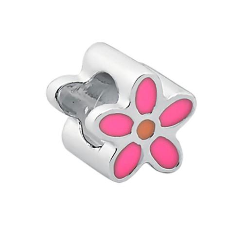 Pingente Prata Link Flor com Resina Rosa 7x7mm