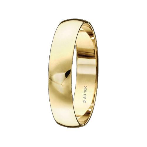 Aliançade Casamento Ouro 10K Tradicional Abaulada L4.8mm E0.8mm