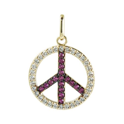Pingente Prata 17mm Paz e Amor com Zircônias