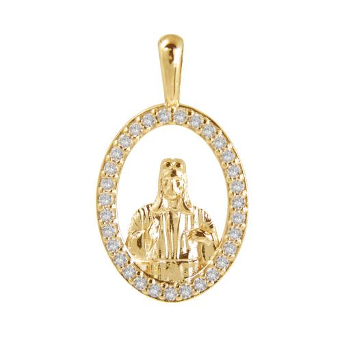 Pingente Prata c/ Ouro 18K Sagrado Coração de Jesus com Zircônia Swarovski 24x14mm