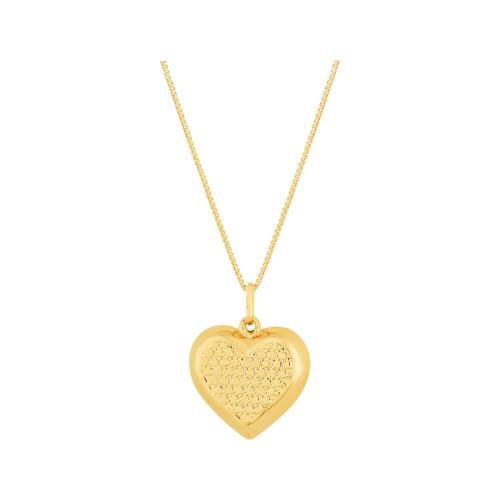 Colar Prata c/ Ouro 18K Veneziana com Coração Diamantado 16x16mm 45cm