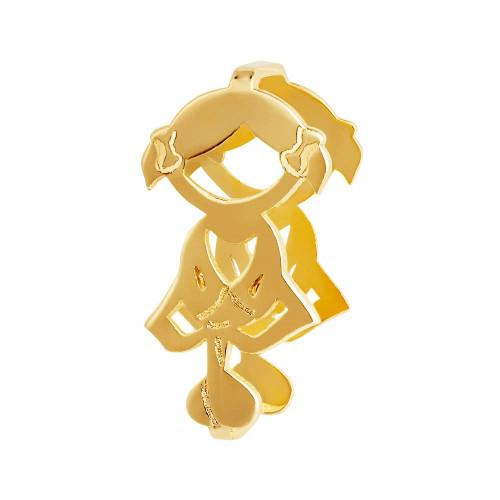 Pingente Aço Hit Menina 11.5mm Gold IPG