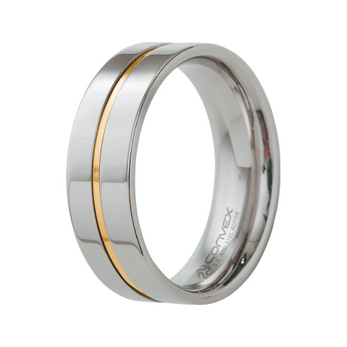 Aliança de Namoro Plus 8mm Filete Central em Ouro