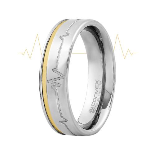 Aliança de Namoro Heart Beat 6mm com Filete em Ouro 10k