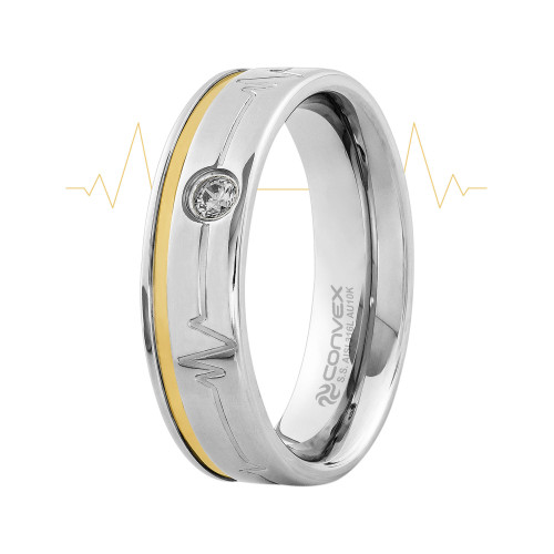 Aliança de Namoro Heart Beat Shine 6mm com Filete em Ouro 10K e Zircônia