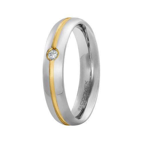 Aliança de Namoro Veneza 5mm com Filete Central Gold IPG e Zircônia