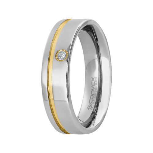 Aliança de Namoro Paris 6mm com Filete Lateral Gold IPG e Zircônia