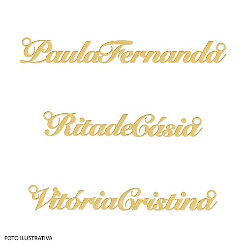 Pingente Prata c/ Ouro 18K Manuscrito Nome Composto